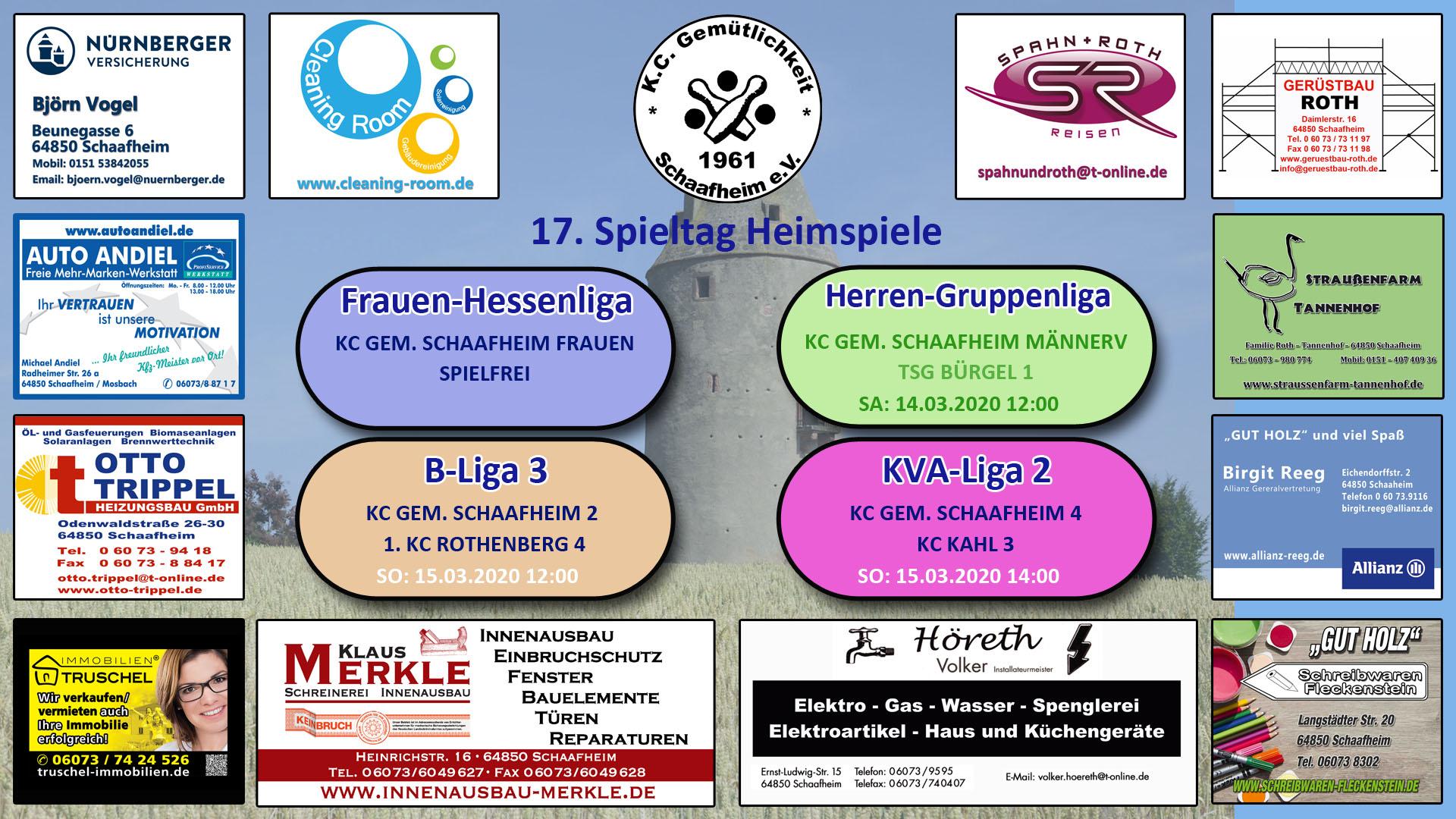 Vorschau 17. Spieltag 2019/2020: Am Wochenende den 14.3./15.03.2020 begrüßen wir die Kegelfreunde von TSG Bürgel, KC Tothenbergen und KC Kahl auf unseren Kegelbahnen.