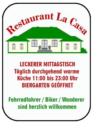 AB SOFORT WIEDER WERKTÄGLICH LECKERER MITTAGSTISCH Täglich durchgehend warme Küche 11:00 bis 23:00 Uhr BIERGARTEN GEÖFFNET Fahrradfahrer / Biker / Wanderer sind herzlich willkommen